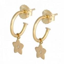 Pendientes oro 18k colección Sena 8mm. aros abiertos diamantes brillantes 0.01ct. estrella colgando
