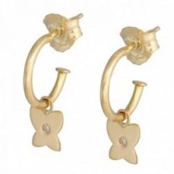 Pendientes oro 18k colección Sena 8mm. aros abiertos diamantes brillantes 0.01ct. mariposa colgando