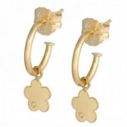 Pendientes oro 18k colección Sena 8mm. aros abiertos diamantes brillantes 0.01ct. flor colgando