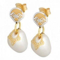 Pendientes oro bicolor 18k colección Martina formas perlas cultivadas cierre presión