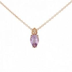 Gargantilla oro rosa 18k colección Praga 42cm. diamantes brillantes 0.011ct.amatista pera