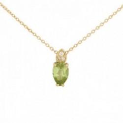 Gargantilla oro 18k colección Praga 42cm. diamantes brillantes 0.011ct. pedidoto olivina