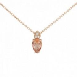 Gargantilla oro rosa 18k colección Praga 42cm. diamantes brillantes 0.011ct. topacio peach