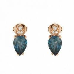 Pendientes oro rosa 18k colección Praga 9mm. diamantes brillantes 0.022ct. topacio London blue
