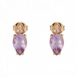 Pendientes oro rosa 18k colección Praga 9mm. diamantes brillantes 0.022ct. amatista pera