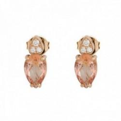 Pendientes oro rosa 18k colección Praga 9mm. diamantes brillantes 0.022ct. topacio peach