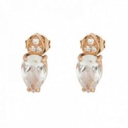 Pendientes oro rosa 18k colección Praga 9mm. diamantes brillantes 0.022ct. topacio blanco