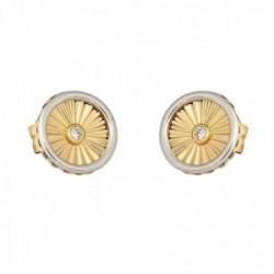 Pendientes oro bicolor 18k colección Tulipán 8mm. diamantes brillantes 0.03ct círculo cierre presión