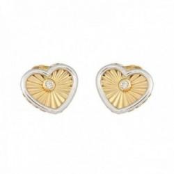 Pendientes oro bicolor 18k colección Tulipán 9mm. diamantes brillantes 0.03ct corazón cierre presión