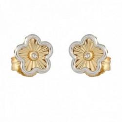 Pendientes oro bicolor 18k colección Tulipán 8mm. diamantes brillantes 0.03ct. flor cierre presión