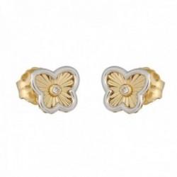 Pendientes oro bicolor 18k colección Tulipán 8mm diamantes brillantes 0.03ct mariposa cierre presión