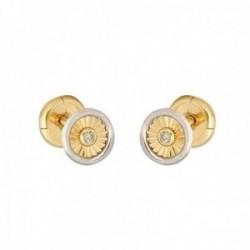 Pendientes oro bicolor 18k colección Tulipán 5mm. diamantes brillantes 0.015ct círculo cierre tuerca
