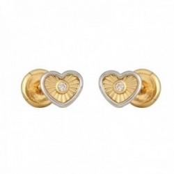 Pendientes oro bicolor 18k colección Tulipán 5mm. diamantes brillantes 0.015ct corazón cierre tuerca