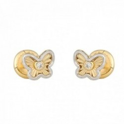 Pendientes oro bicolor 18k colección Tulipán 5mm diamantes brillantes 0.015ct mariposa cierre tuerca