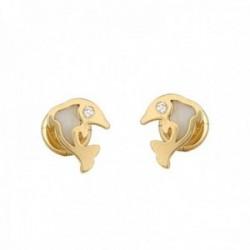 Pendientes oro 18k colección Tulipán delfín 7mm. brillantes diamantes 0.015ct. nácar cierre tuerca