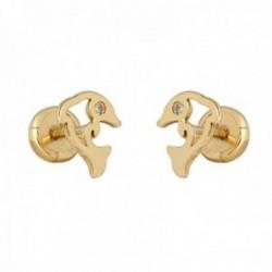 Pendientes oro 18k colección Tulipán delfín 6mm. brillantes diamantes 0.015ct. calados cierre tuerca