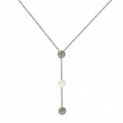 Gargantilla oro blanco 18k colección Alexandra 45cm. perlas cultivadas 7mm. grises blanca colgando