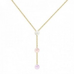 Gargantilla oro 18k colección Alexandra 45cm. perlas cultivadas 7mm. blanca melocotón lila colgando