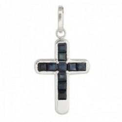 Colgante cruz oro blanco 18k colección Olimpia 17mm. zafiros carré