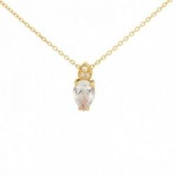 Gargantilla oro 18k colección Praga 42cm. diamantes brillantes 0.011ct topacio blanco cadena forzada