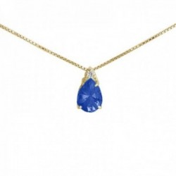 Gargantilla oro 18k colección Praga diamante brillante 0.03ct. zafiro cadena veneciana