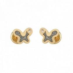 Pendientes oro bicolor 18k colección Tulipán 7mm. mariposa diamantada diamantes brillantes tuerca