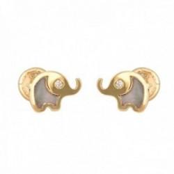 Pendientes oro 18k colección Tulipán 7mm. elefante esmalte diamantes brillantes 0.015ct. tuerca