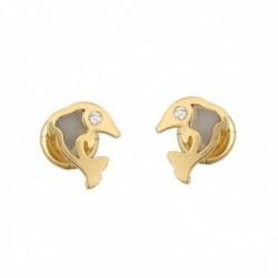 Pendientes oro 18k colección Tulipán 7mm. delfín esmalte diamantes brillantes 0.015ct. cierre tuerca