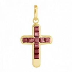 Colgante cruz oro 18k colección Olimpia 17mm. rubíes carré