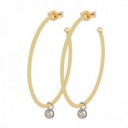 Pendientes oro bicolor 18k colección Jarretiere 30mm. aros diamantes brillantes 0.06ct. colgando