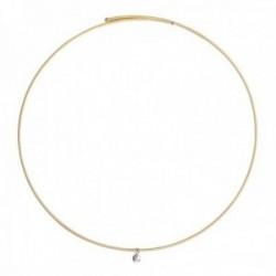 Gargantilla oro bicolor 18k colección Jarretiere diamante brillante 0.03ct. rígida