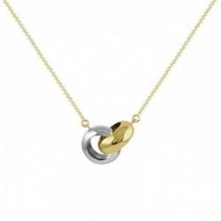 Gargantilla oro bicolor 18k colección Circles 43cm. anillos entrelazados cadena forzada
