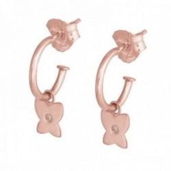 Pendientes oro rosa 18k colección Sena aros abiertos 8mm. diamantes brillantes 0.01ct. mariposa