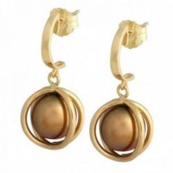 Pendientes oro 18k colección Sofía perlas cultivadas esféricas chocolate cierre presión