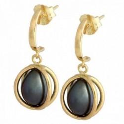 Pendientes oro 18k colección Sofía perlas cultivadas perilla grises cierre presión