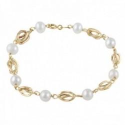Pulsera oro 18k colección Bracelets 18cm. perlas cultivadas entrepiezas jaulas cierre reasa