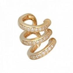 Pendiente earcuff helix oro 18k colección Sena 12.8mm. diamantes brillantes 0.12ct. falso piercing