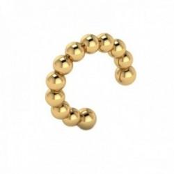 Pendiente earcuff helix oro 18k colección Sena 9.3mm. liso bolas falso piercing