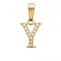 Colgante letra oro 18k inicial ''Y'' alto 9mm. circonitas [6237]