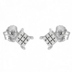Pendientes oro blanco 18k colección Destellos 4.5mm. diamantes brillantes 0.072ct. cierre presión