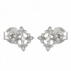Pendientes oro blanco 18k colección Circles diamantes brillantes 0.15ct. formas cierre presión