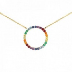 Gargantilla oro 18k colección Rainbow 44cm. colgante topacios diferentes colores cadena forzada