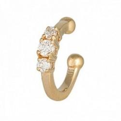 Pendiente earcuff helix oro 18k colección Sena diamantes brillantes 0.06ct. liso