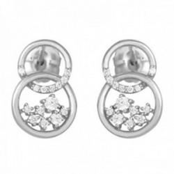 Pendientes oro blanco 18k colección Circles 13mm. diamantes brillantes 0.192ct. aros entrelazados