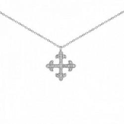 Gargantilla oro blanco 18k colección Circles 42cm. diamantes brillantes 0.15ct. cruz formas