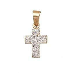 Cruz colgante oro 9k piedras 12x9  [6239]