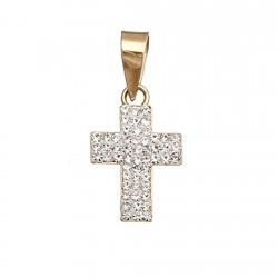 Cruz colgante oro 9k piedras 15x10  [6240]