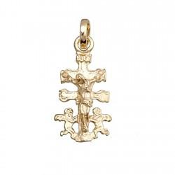 Cruz crucifijo colgante oro 9k caravaca cristo delante virgen [6241]