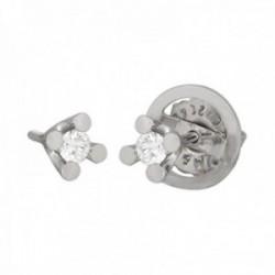 Pendientes oro blanco 18k colección Toscana garras diamantes brillantes 0.14ct. cierre presión
