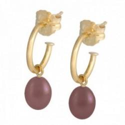 Pendientes oro 18k colección Sena aros abiertos 8mm. perla marrón 7mm. colgando cierre presión